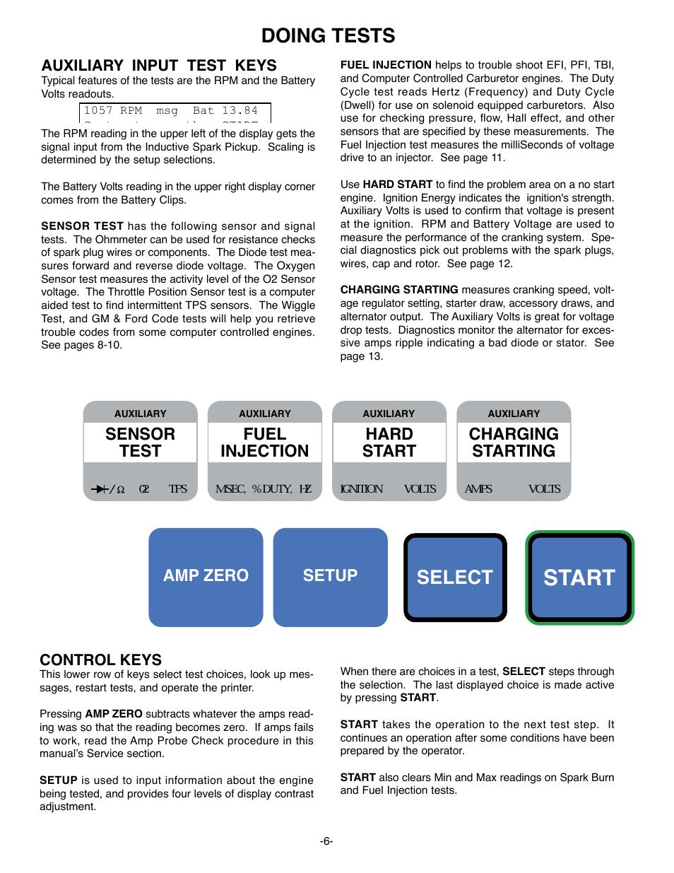 Start, Doing tests, Select | GxT Ferret 63 DIAGNOSTIC ENGINE