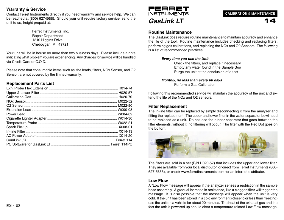 GxT Ferret 14 5-Gas Calibration User Manual   2 pages