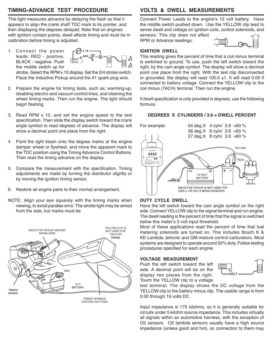 Timing-advance test procedure, Volts & dwell measurements   GxT V086-01,  Ferret 86, Tach-Adv-Dwell-Volts Timing Light User Manual   Page 2 / 2
