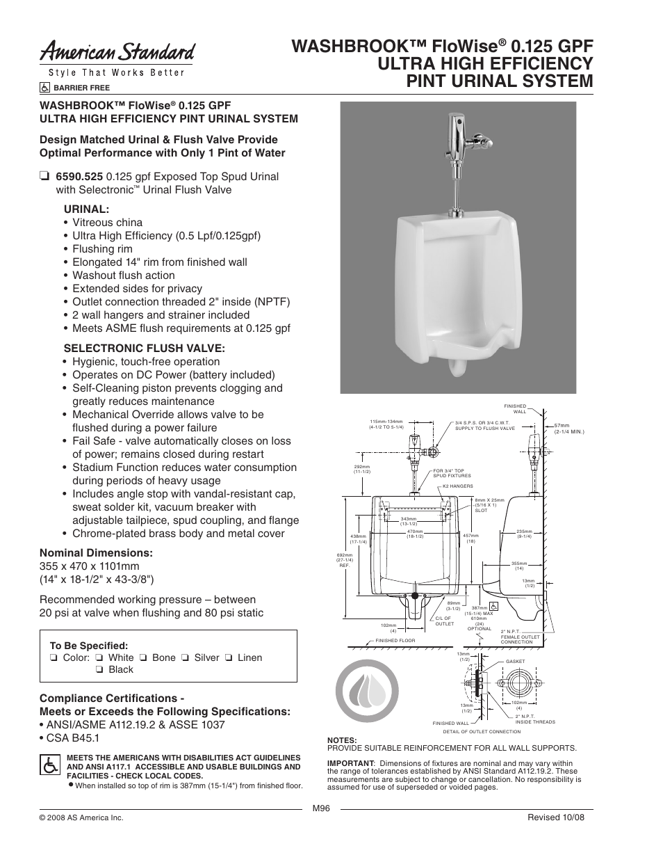 American Standard Washbrook Flowise 0 125 Gpf 6590 525