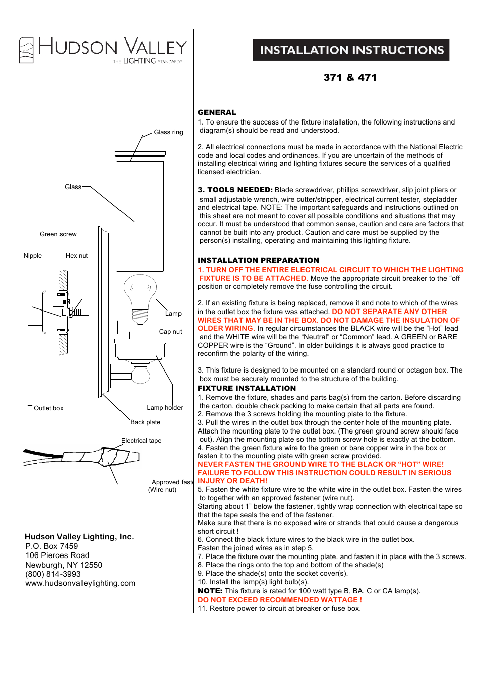 Hudson Valley Lighting Everett 471 User Manual 2 Pages Also For Recently Removed The Wire Nuts On Two Lights Controlled By 371
