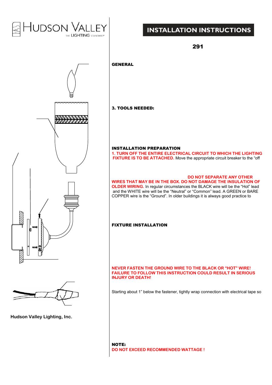 hudson valley lighting lafayette 291 user manual 1 page