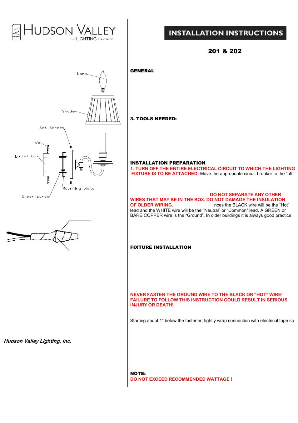Hudson Valley Lighting Sheldrake 202 User Manual 1 Page Also For
