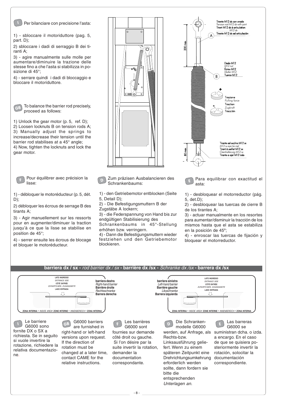 CAME G6000 User Manual | Page 8 / 24 | Also for: Gard6T Kit