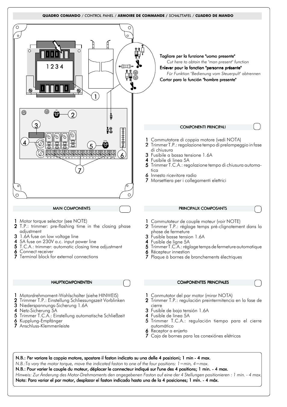 If e d gb | CAME ZC2-C Control Panel User Manual | Page 3 / 6 ...