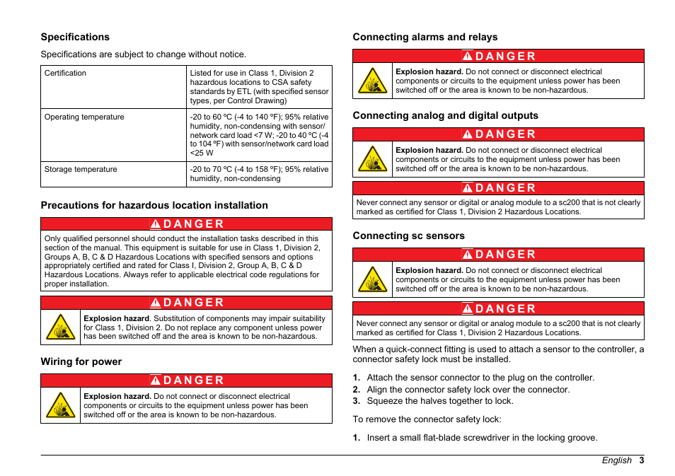 Compliance instrument manual, Specifications, Precautions