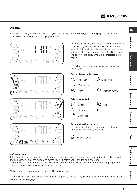 Oryginał Display | Ariston AVSD 109 User Manual | Page 5 / 84 QW35