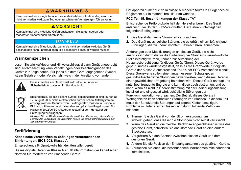 Warnkennzeichen, Zertifizierung | Hach-Lange 2100 N IS Laboratory ...