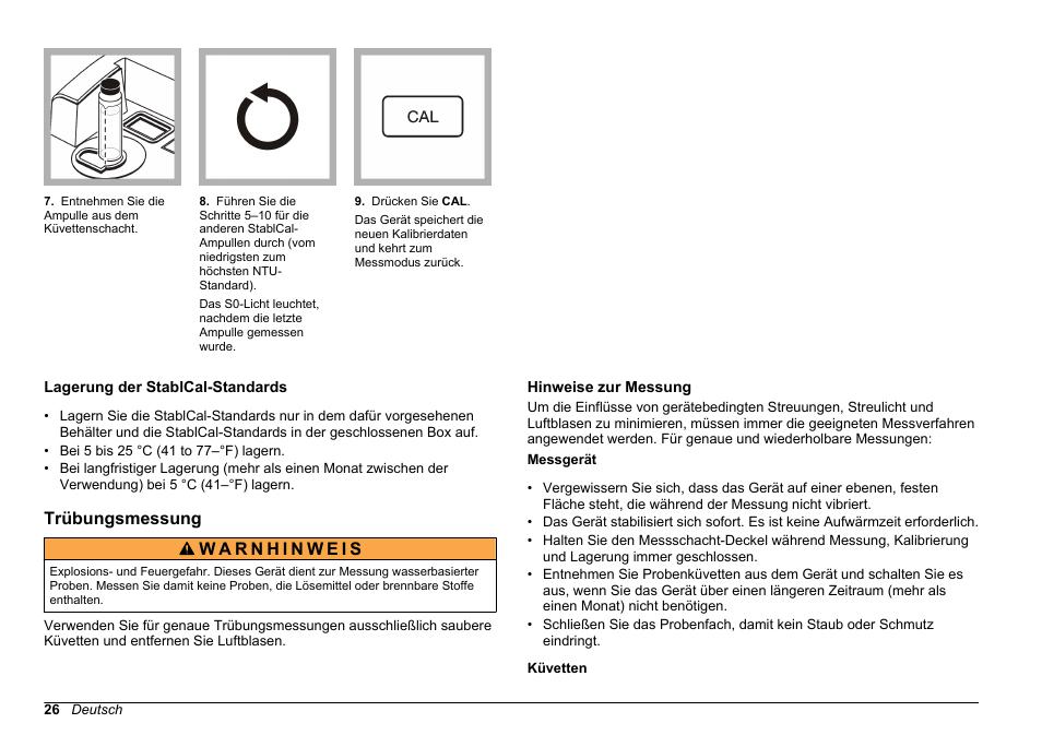 Lagerung Der Stablcal Standards Trubungsmessung Hinweise Zur