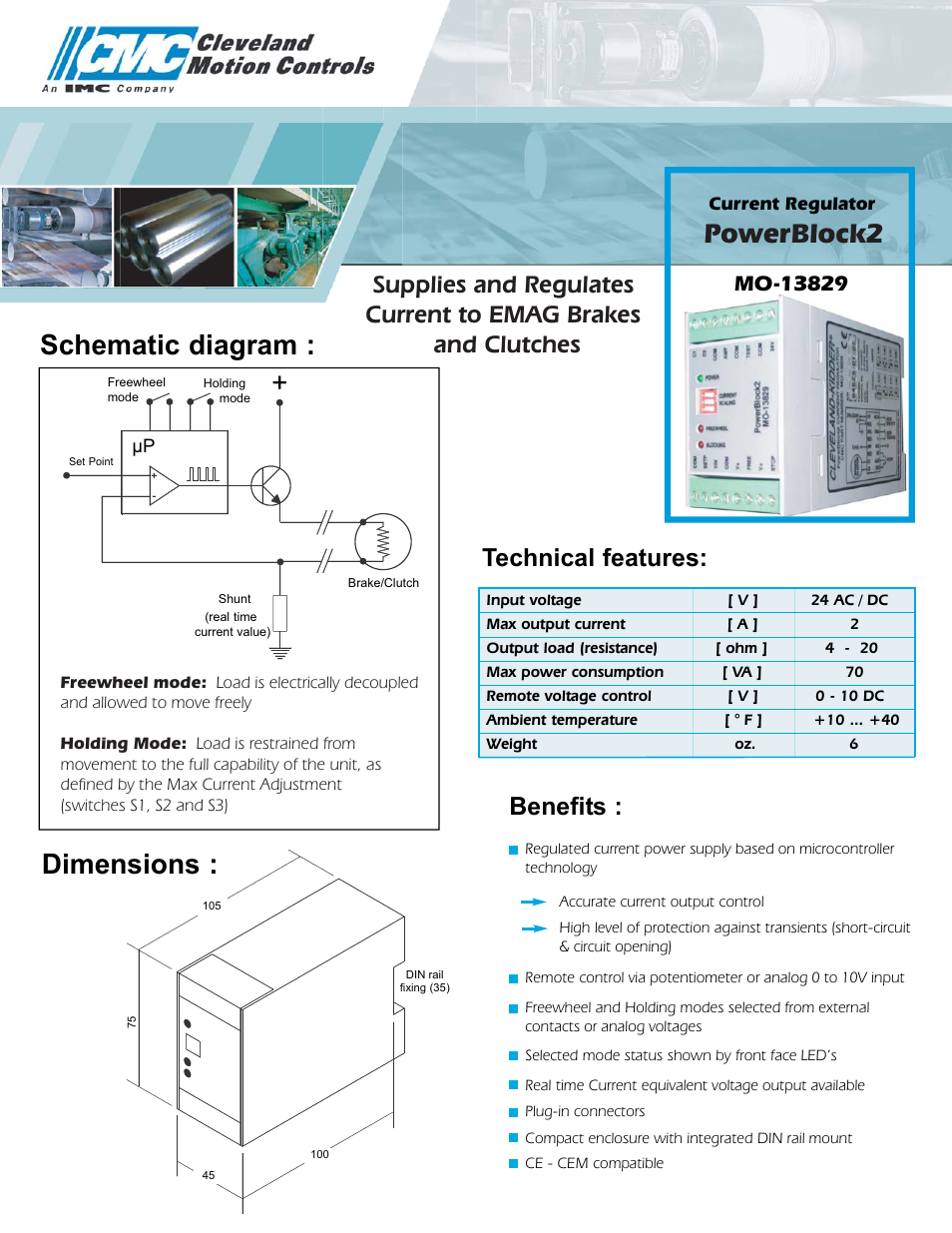 Cleveland Motion Controls Current Regulator Powerblock2 Mo 13829 Voltage And Circuit User Manual 2 Pages