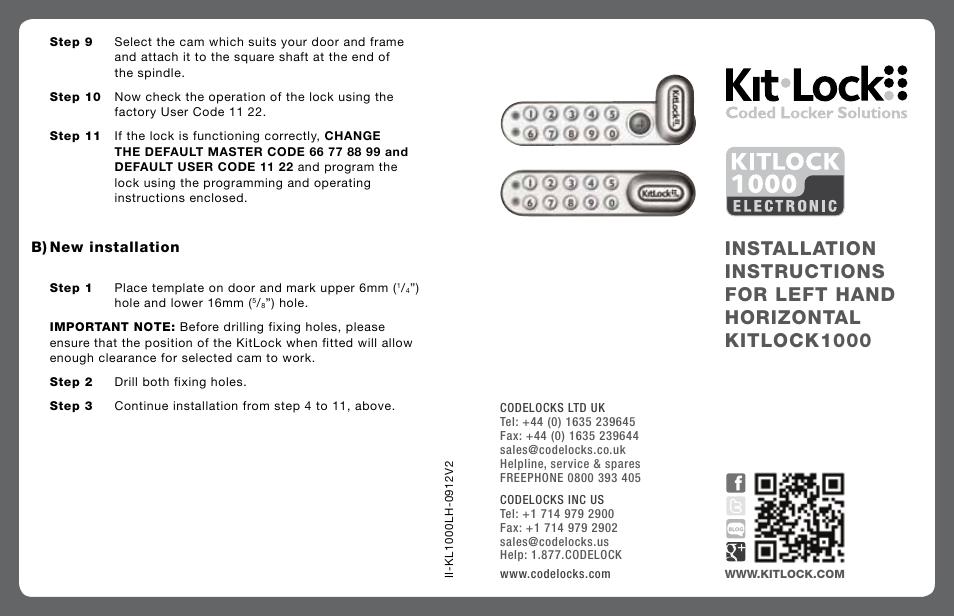 Codelocks Kl1000 Kitlock Locker Lock User Manual 2 Pages