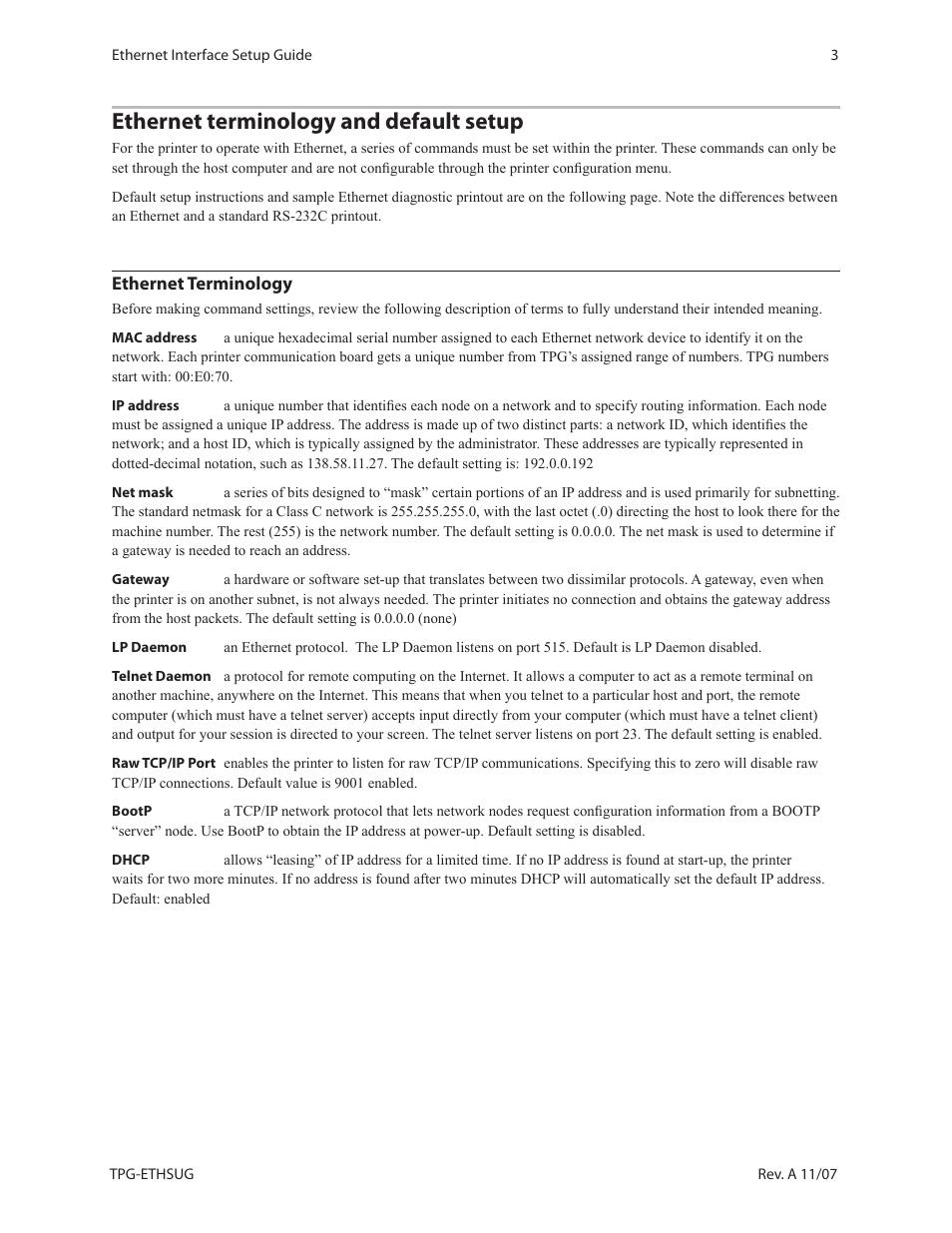 Ethernet terminology and default setup | CognitiveTPG A799 User