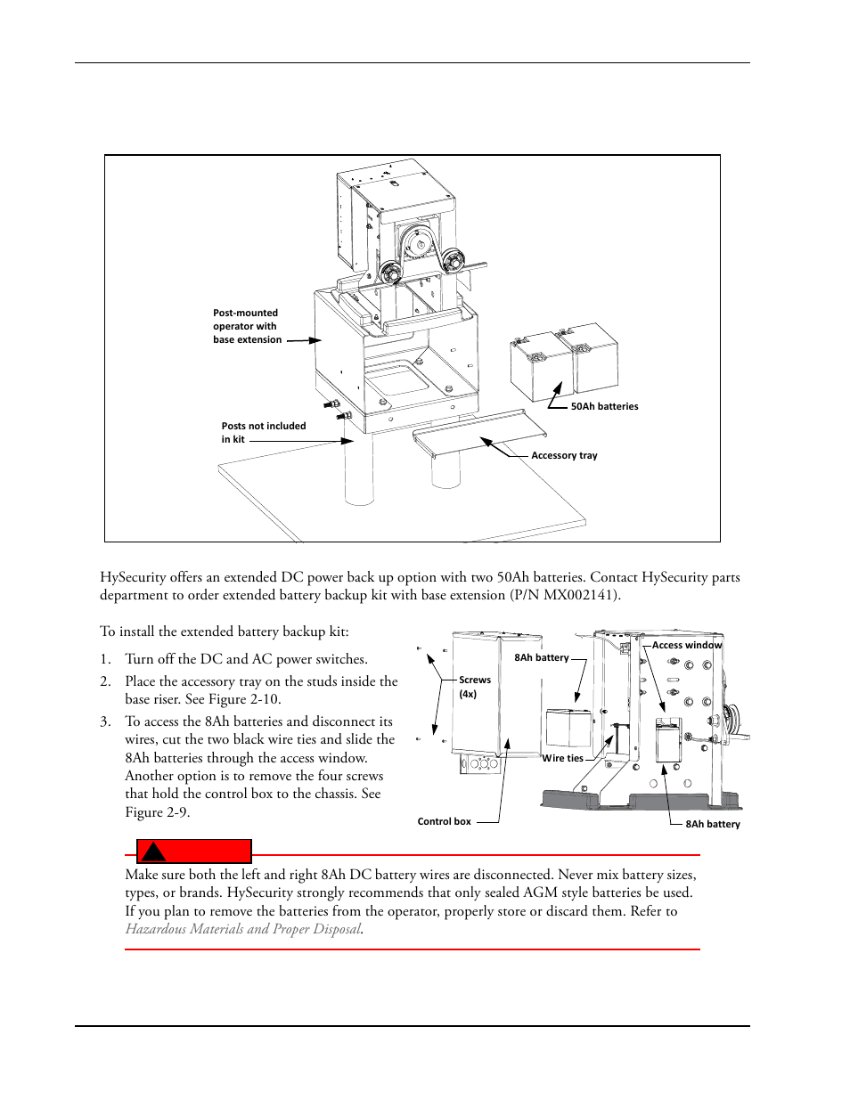 installing the extended battery backup kit -12, r to, installing the  extended battery | controlled products systems group slidesmart dc 10f user  manual