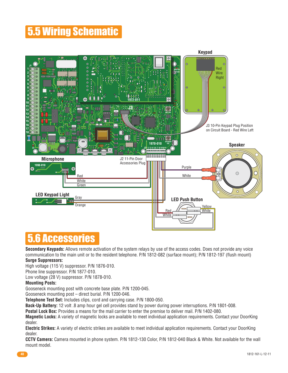 5 Wiring Schematic 56 Accessories Keypad Microphone Led Diagram For Light Push Button Speaker Doorking 1812 Plus User Manual Page 42 50
