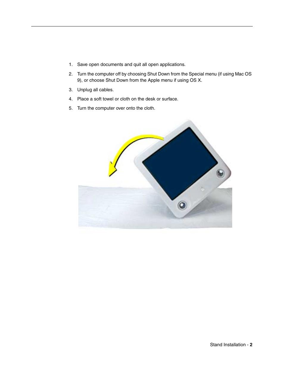 emac installation procedure to install the emac stand apple emac rh manualsdir com Apple iMac Apple Laptops