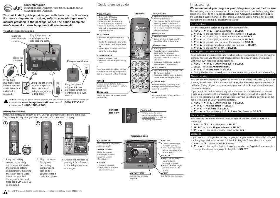 at u0026t cl82401 user manual