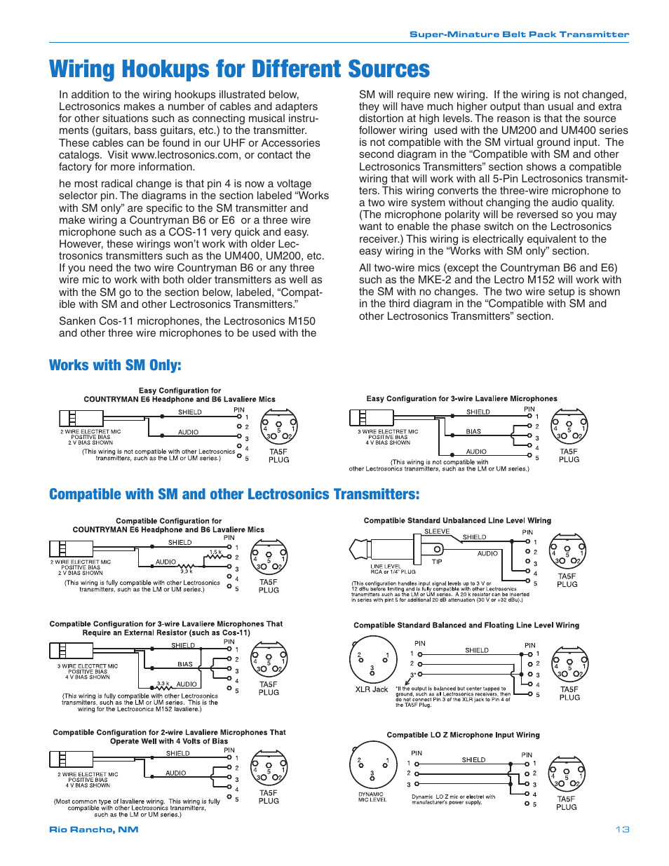 Wiring Hookups For Different Sources Works With Sm Only Uhf Transmitter 5pin Input Jack Microphone Lectrosonics Smq User Manual Page 13 20