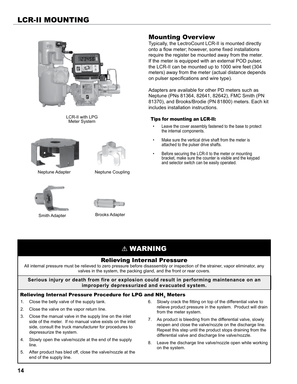 Lcr-ii mounting, Warning, Mounting overview | Liquid Controls LCR-II ...