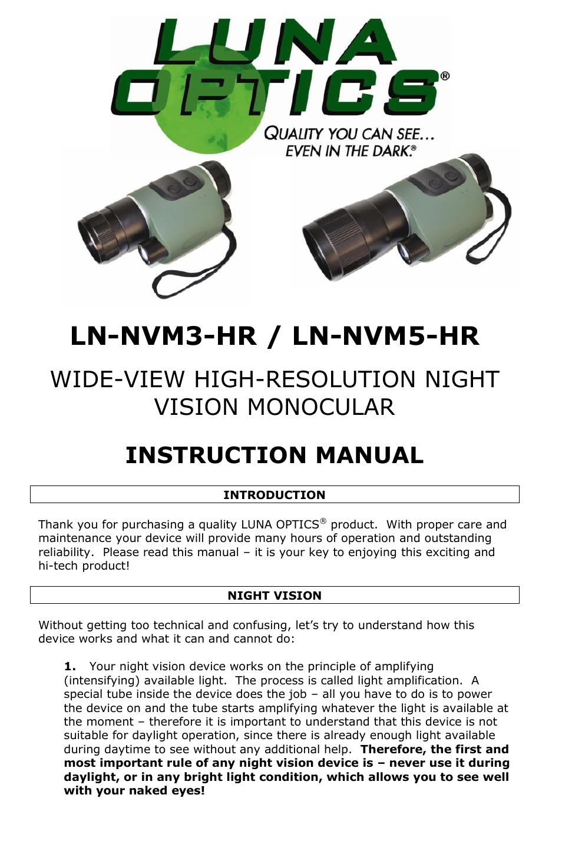 Luna Optics LN-NVM5-HR User Manual | 4 pages | Also for: LN