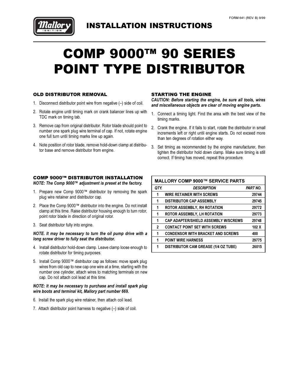 mallory ignition mallory comp 9000 90 series point type distributor user manual 3 pages