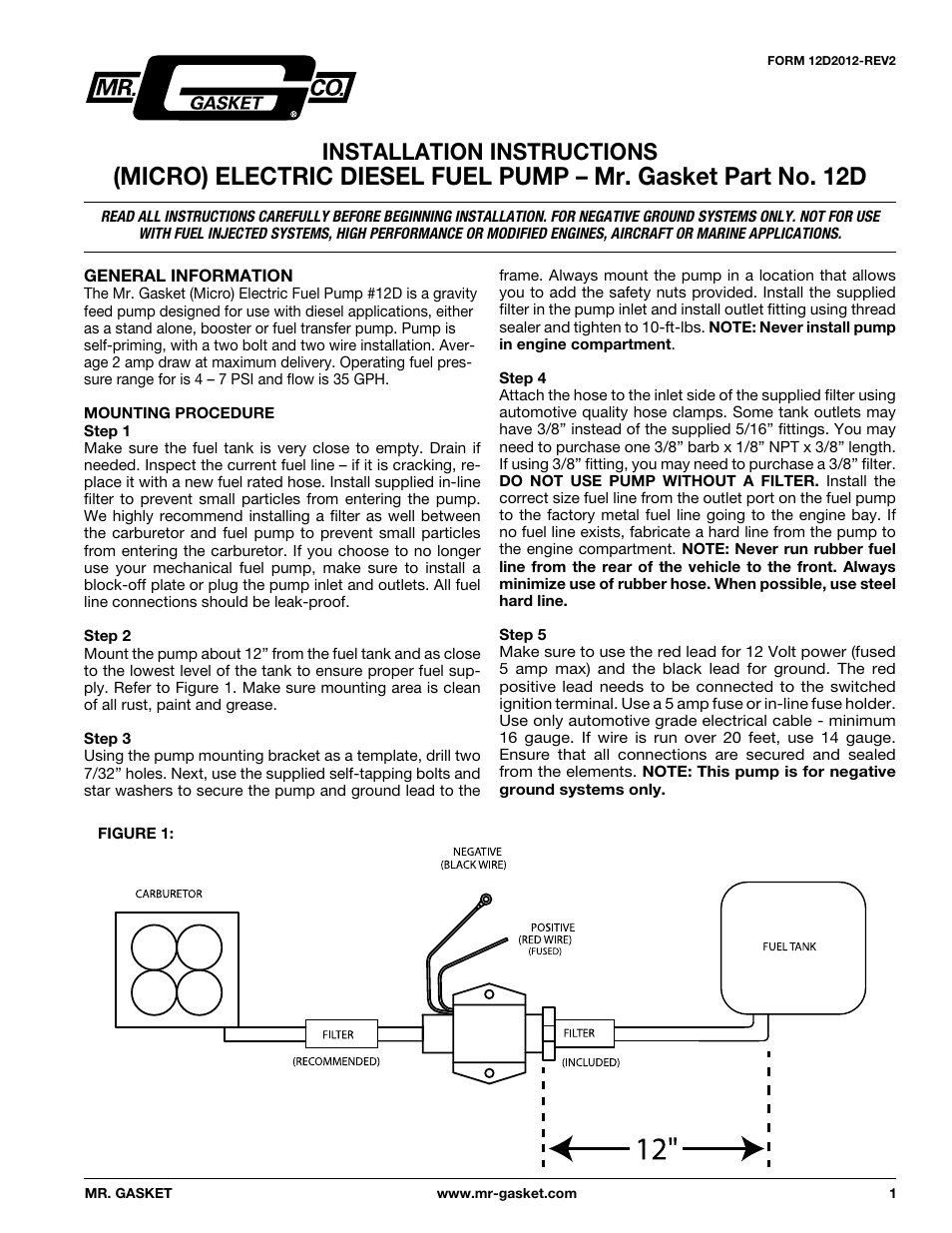 mallory ignition mr_gasket electric (micro) diesel fuel pump 12d user manual  | 4 pages