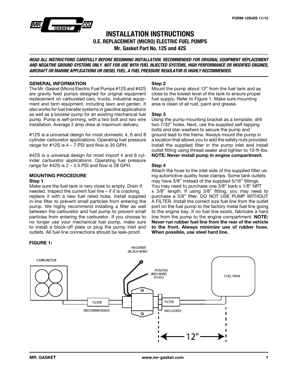 Mr Gasket Electric Fuel Pump Wiring Diagram - Arbortech.us