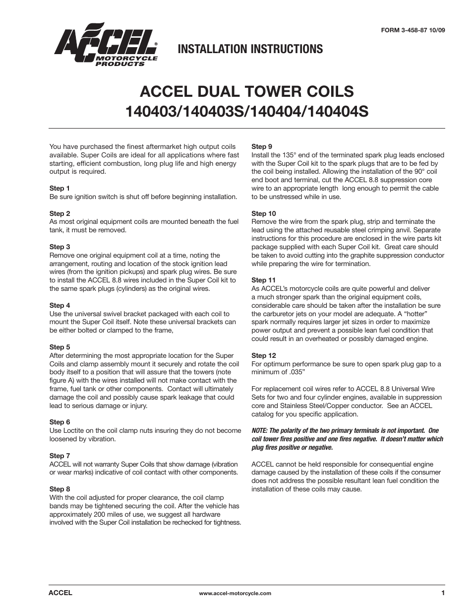 Mallory Ignition ACCEL DUAL TOWER COILS 140403/140403S/140404/140404S User  Manual | 2 pages