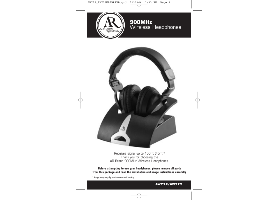 Acoustic Research AR AW722 User Manual | 7 pages | Also for: AR AW772