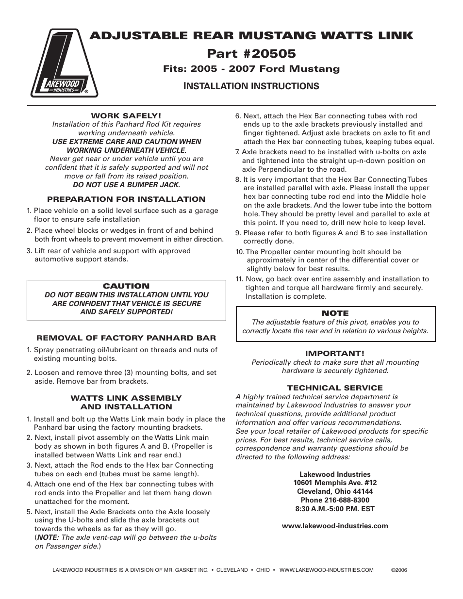 Mallory Ignition Lakewood watts link 20505 User Manual | 2 pages