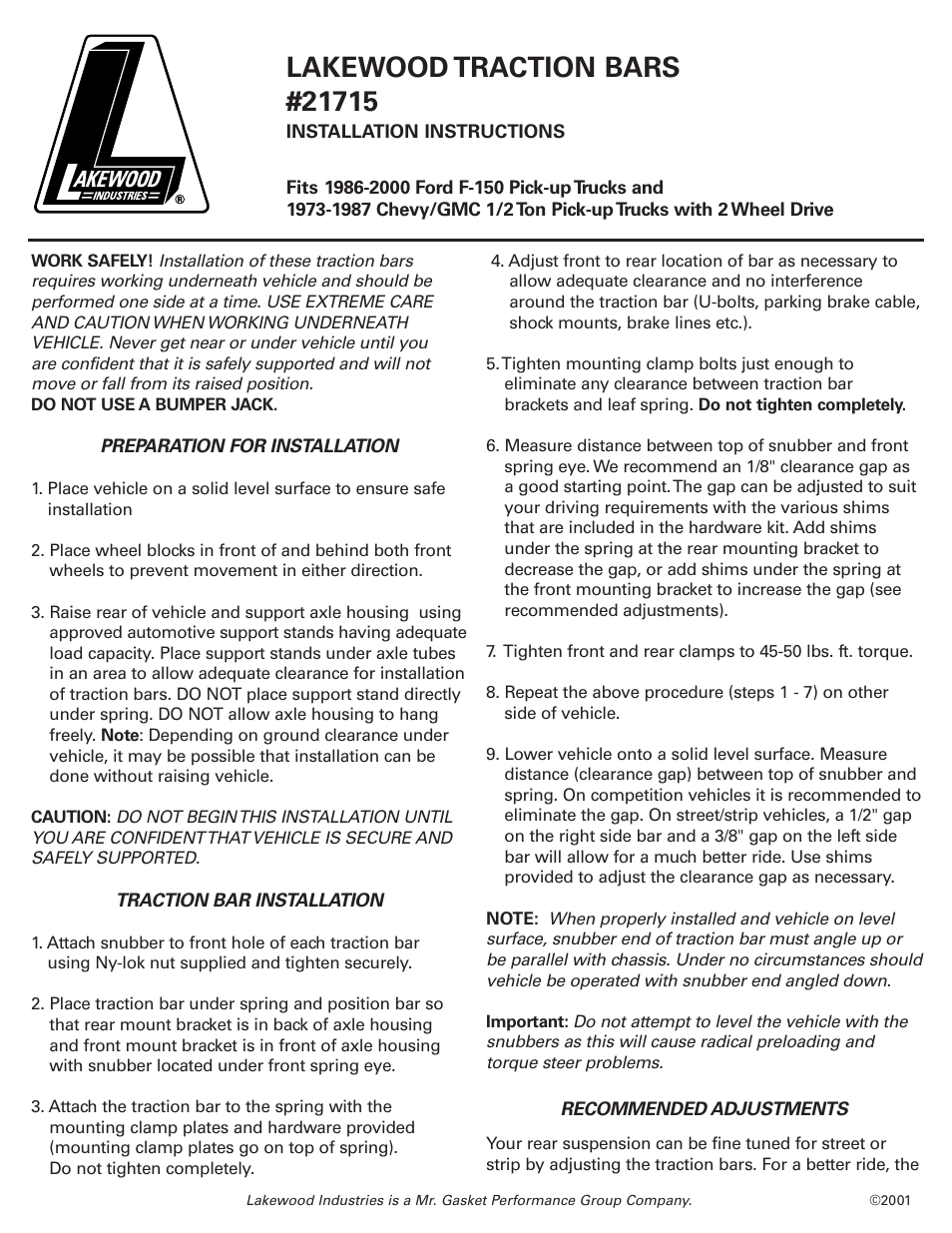 Mallory Ignition Lakewood traction bars 21715 User Manual   2 pages