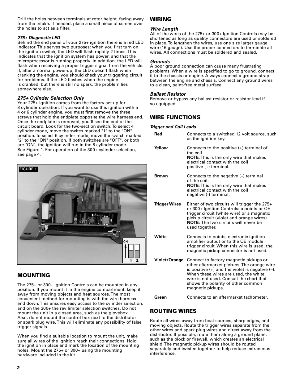 Mallory Ignition Accel 275 300 Digital 49275 49300 User Tach Wiring Diagram Manual Page 2 8 Also For Adapter Universal 49365
