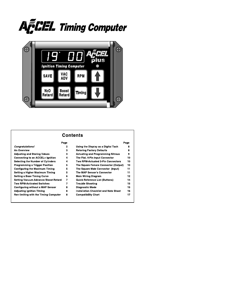 Mallory Ignition Accel Timing Computer 49340 User Manual 17 Pages Tach Wiring Diagram
