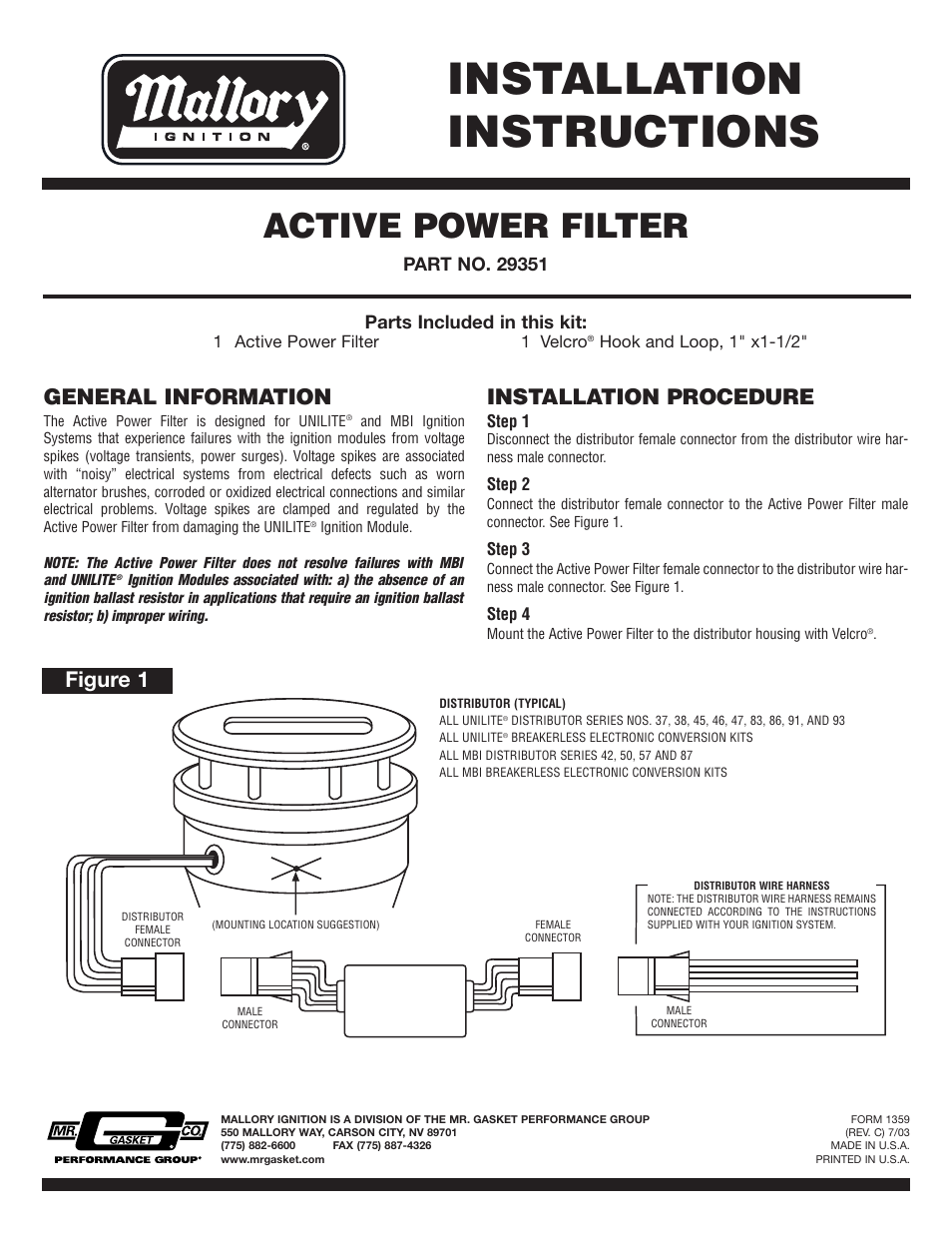 Mallory Ignition Mallory Active Power Filter 29351 User