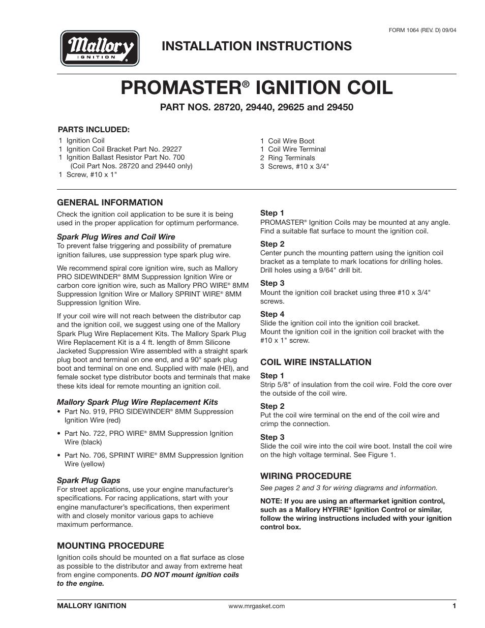 Mallory Ignition Mallory PROMASTER IGNITION COIL 29440_29450_29625_29450  User Manual | 12 pages