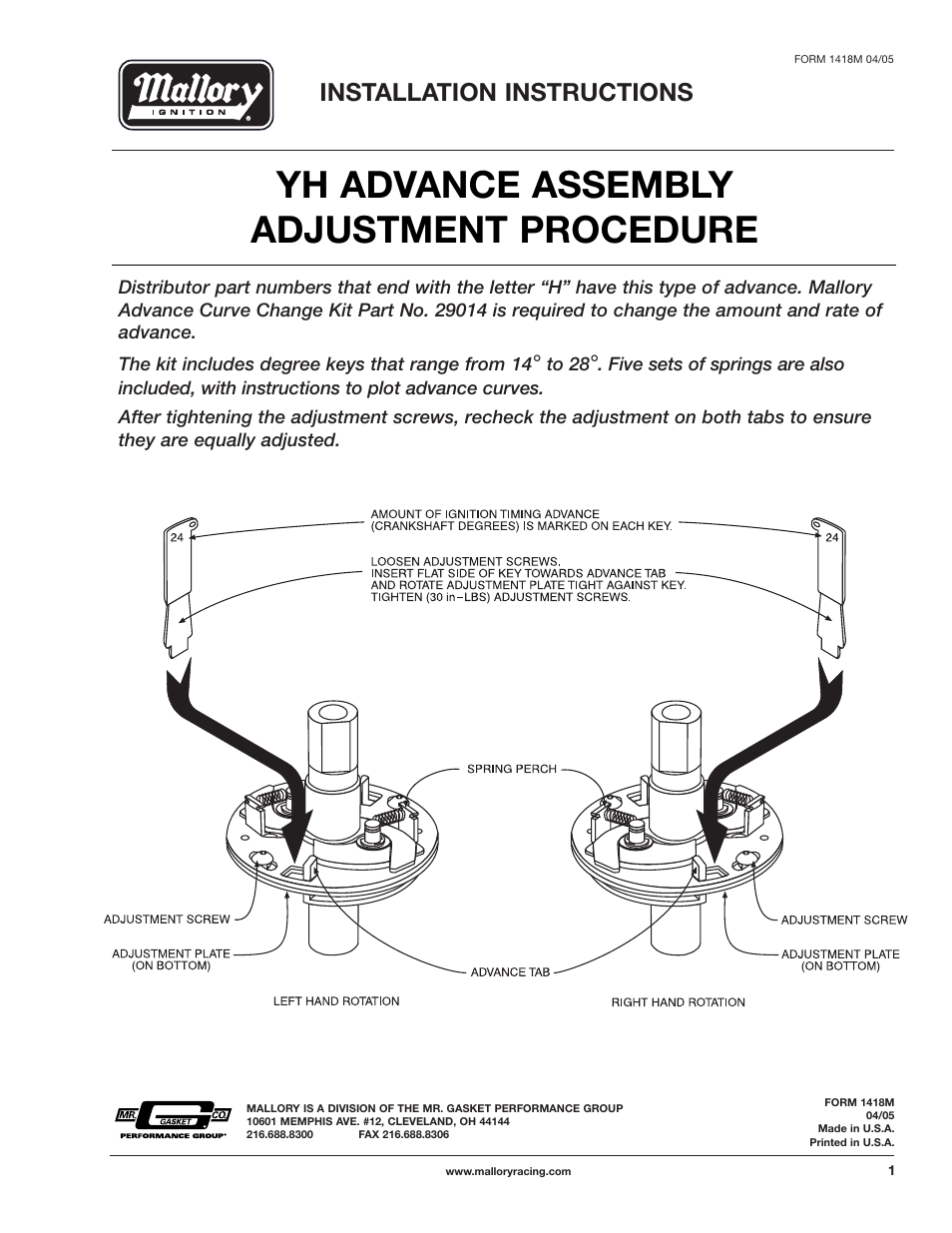 Yh Advance Assembly Adjustment Procedure Installation Instructions Mallory Pro Comp Distributor Wiring Diagram Ignition Billet Competition Series 81 And 84 User Manual