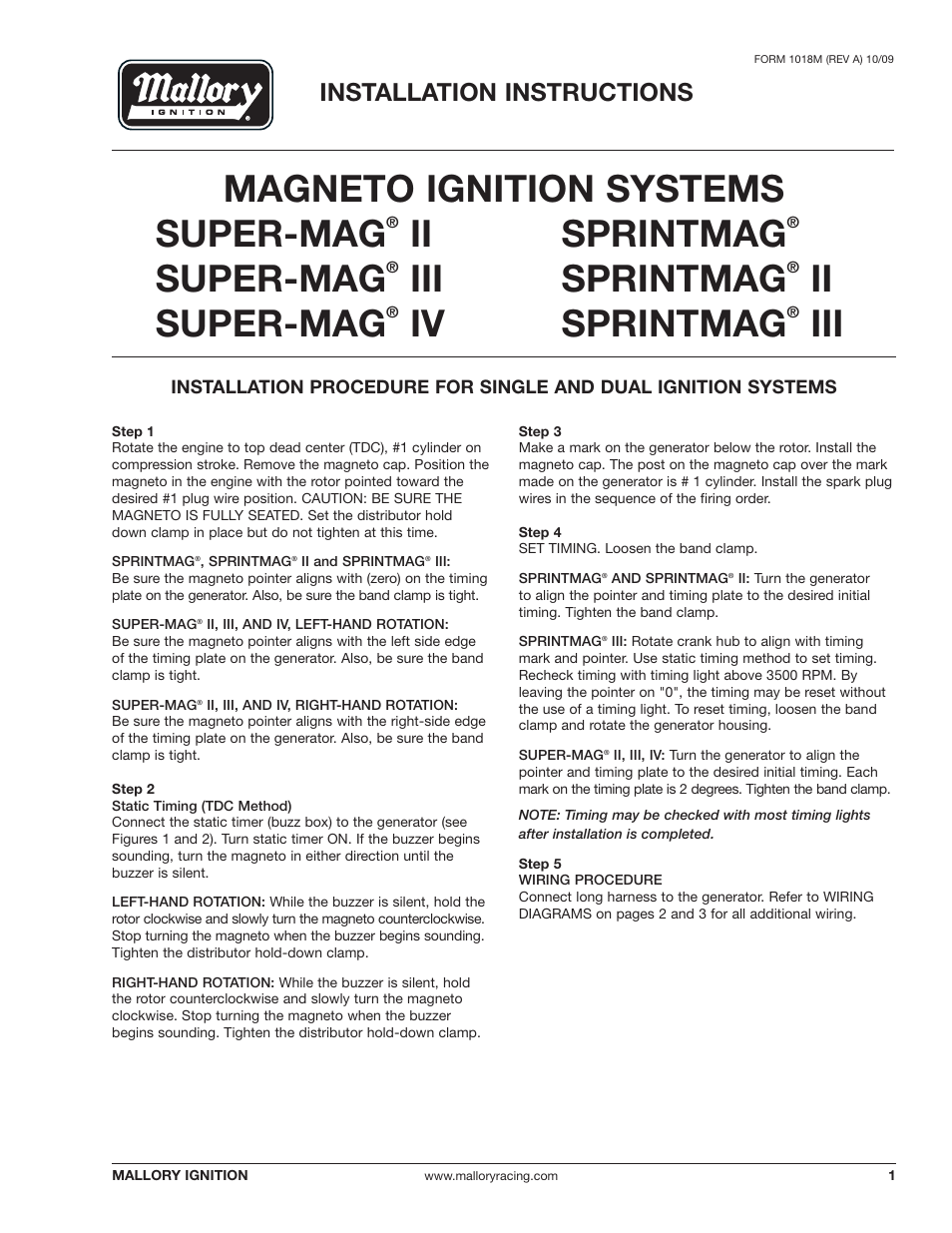 Wiring Diagram For Mallory Super Mag 3 38 Images Ignition Systems Diagrams Magneto Sprintmag Iiiii Page1