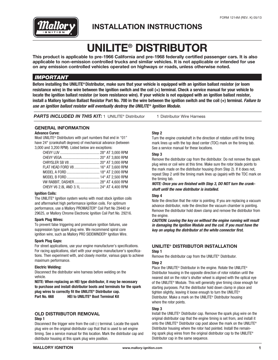 mallory ignition mallory unilite distributor 37_38_45_47 user manual | 4  pages