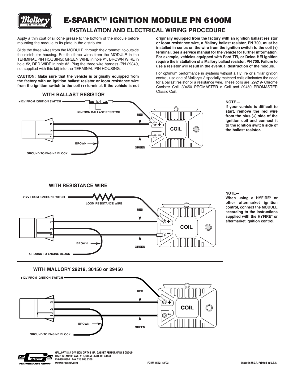 Mallory E Spark Wiring Diagram Reinvent Your Hei Ignition Coil Module 6100m User Manual Rh Manualsdir Com High Fire Msd