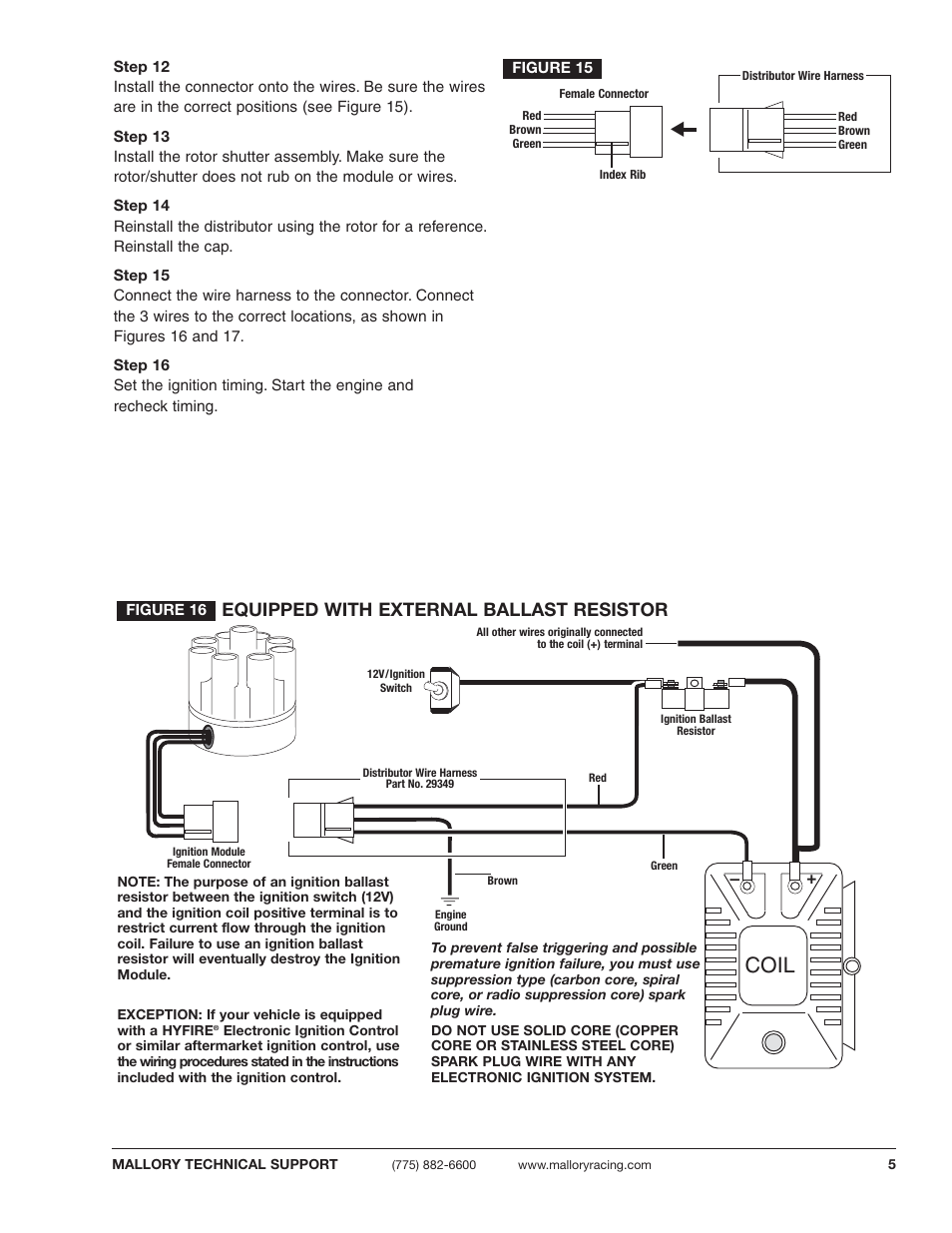Coil, Equipped with external ballast resistor | Mallory Ignition Mallory  E-SPARK BREAKERLESS CONVERSION KIT 61010M_61011M User Manual | Page 5 / 8
