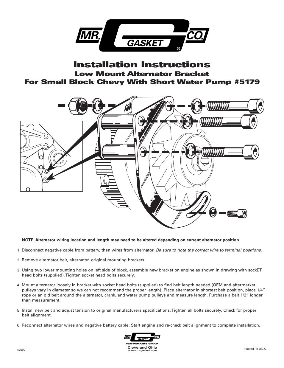 Mr Gasket 51200ng Mr Gasket 1 Wire Alternator Manual Guide