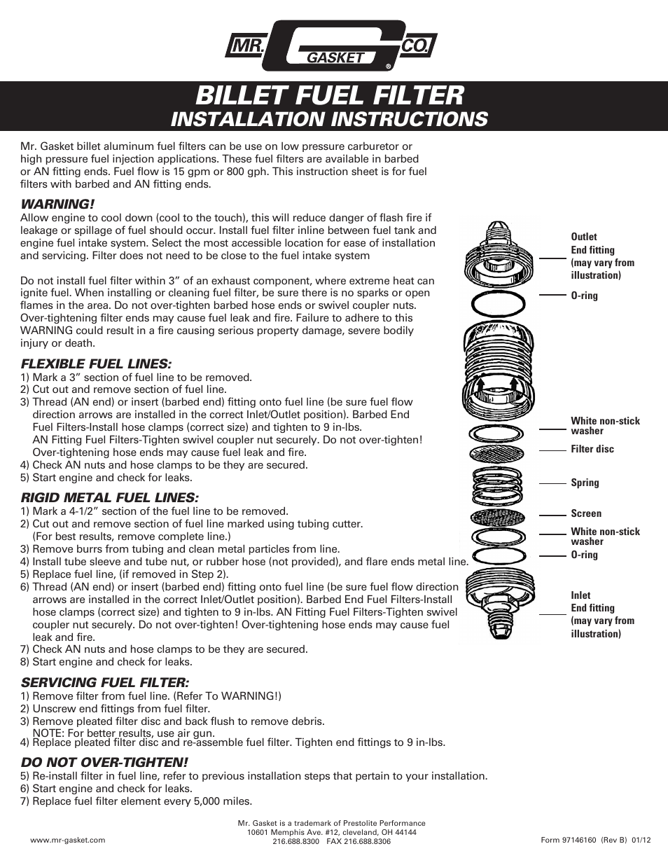 mr gasket 6160g fuel filter billet user manual 1 page also for  mr gasket fuel filter #12