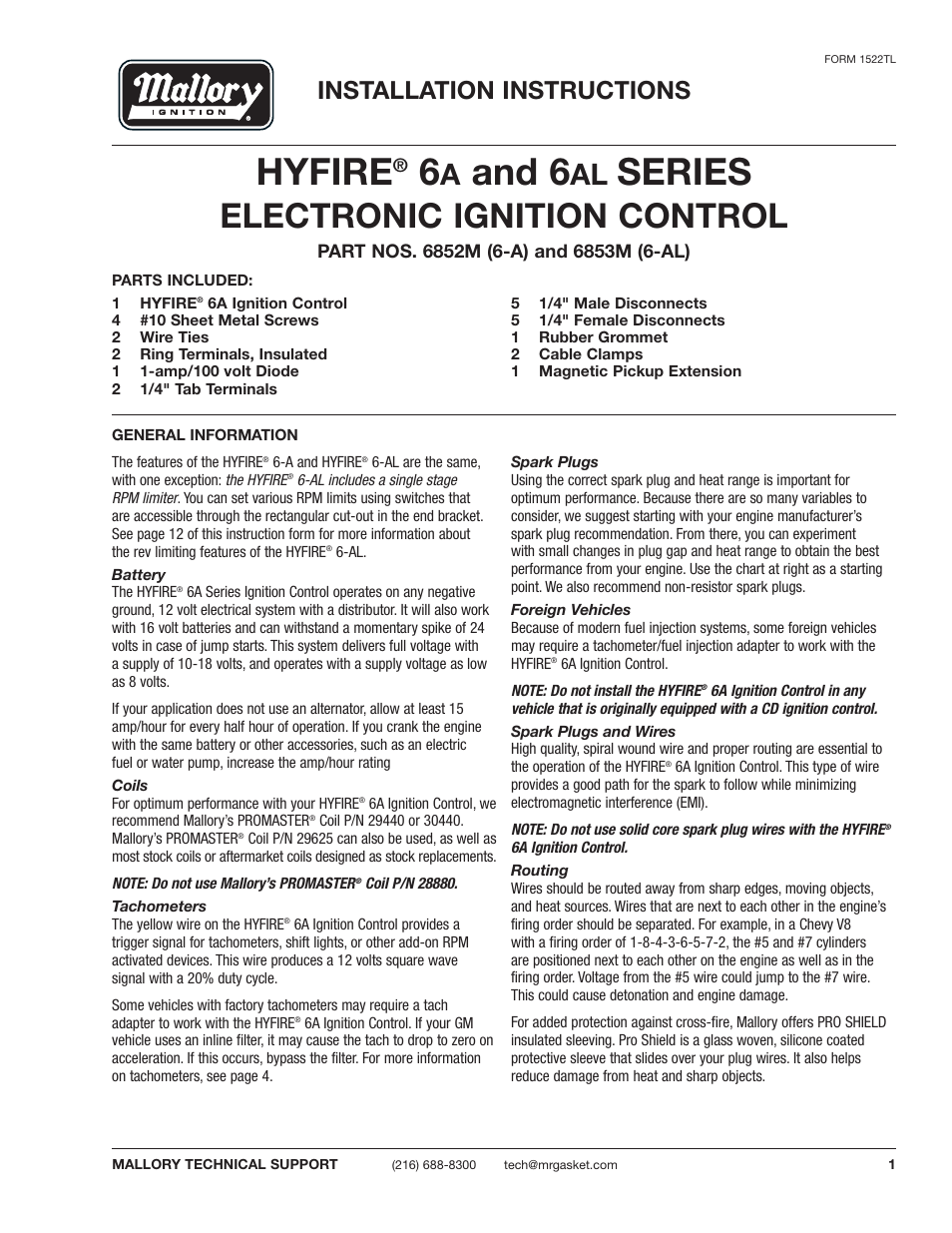 Mallory Ignition Hyfire 6a And 6al Series Electronic High Fire Wiring Diagram With Rev Limiter Controls 6852m 6853m User Manual 36 Pages Also For