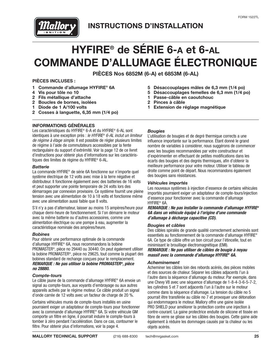 Manual Electronic Ignition Amazing Deal Michaelieclark Mallory Hyfire 6853m Wiring Diagram De Srie 6 Et Commande Dallumage Lectronique Instructions