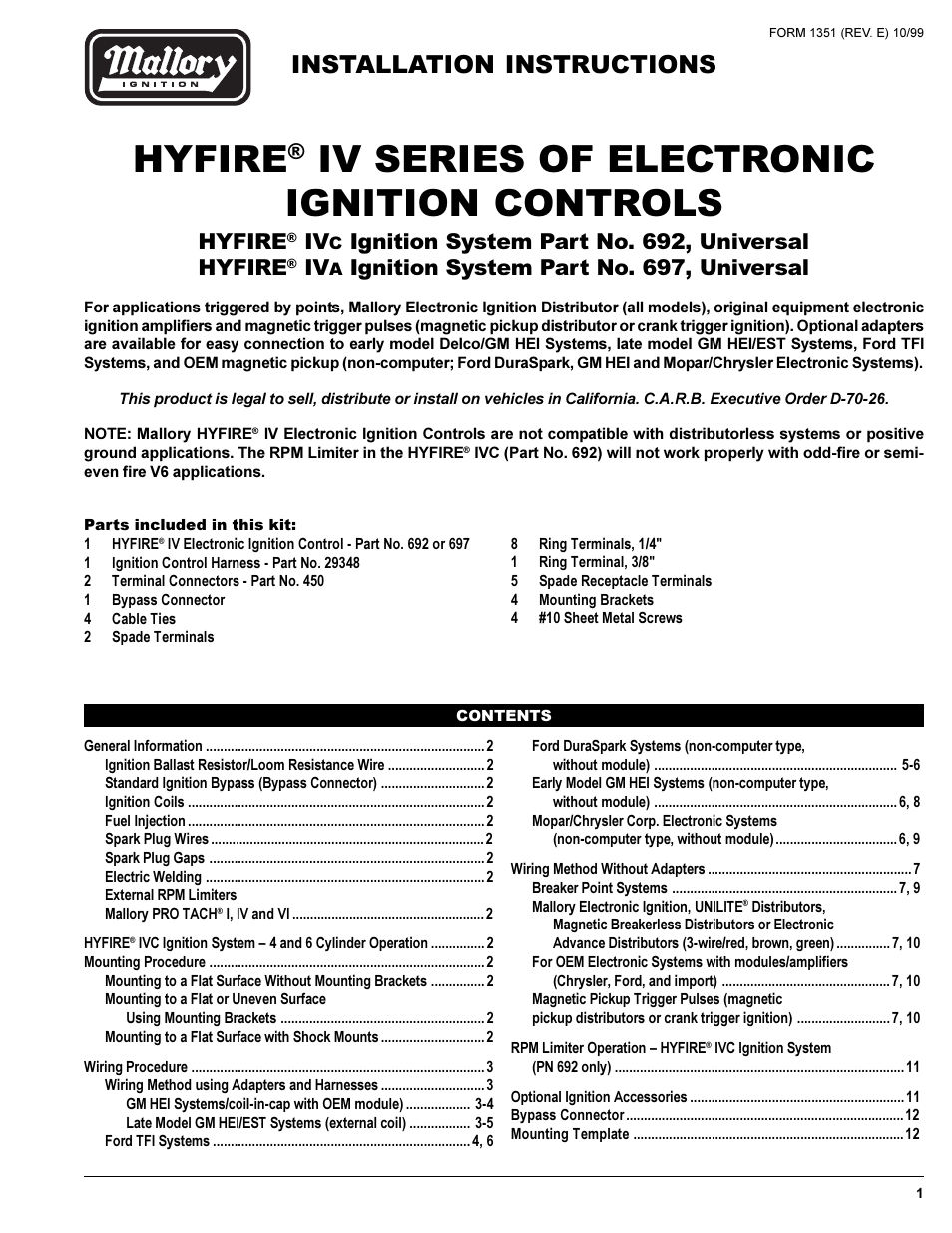 Mallory Ignition Hyfire Iv Series System 692 697 Early Gm Hei Wiring Illustration User Manual 12 Pages