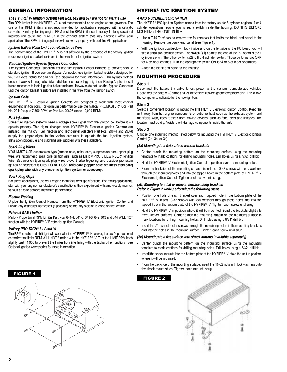 general information hyfire ivc ignition system mallory ignition mallory hyfire iv series