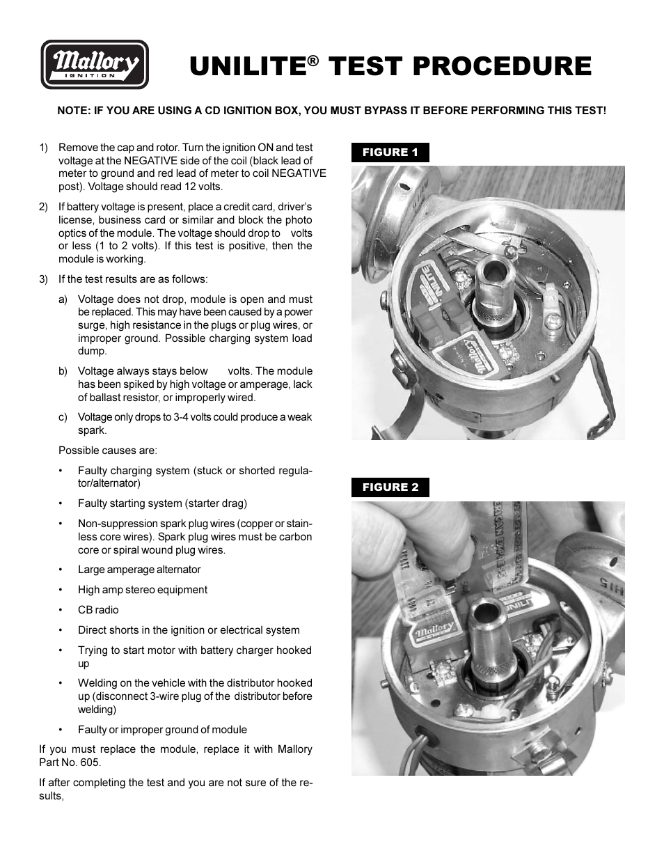 Mallory Ignition Unilite Test Procedure User Manual 1 Page Troubleshooting Also For 605