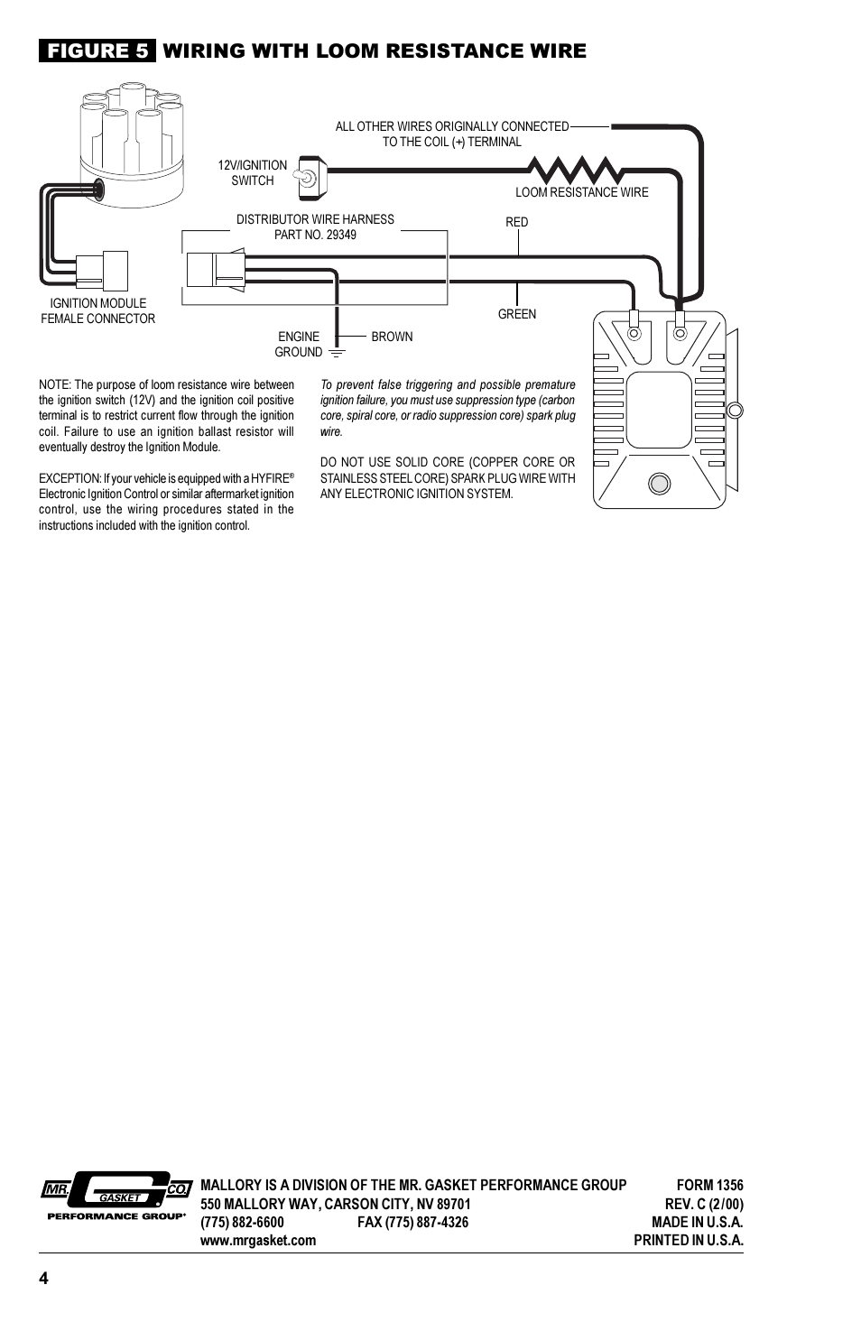 Coil Figure 5 Wiring With Loom Resistance Wire Mallory Ignition Harness Module What Do You Need For Your Magnetic Breakerless 609 User Manual Page 4