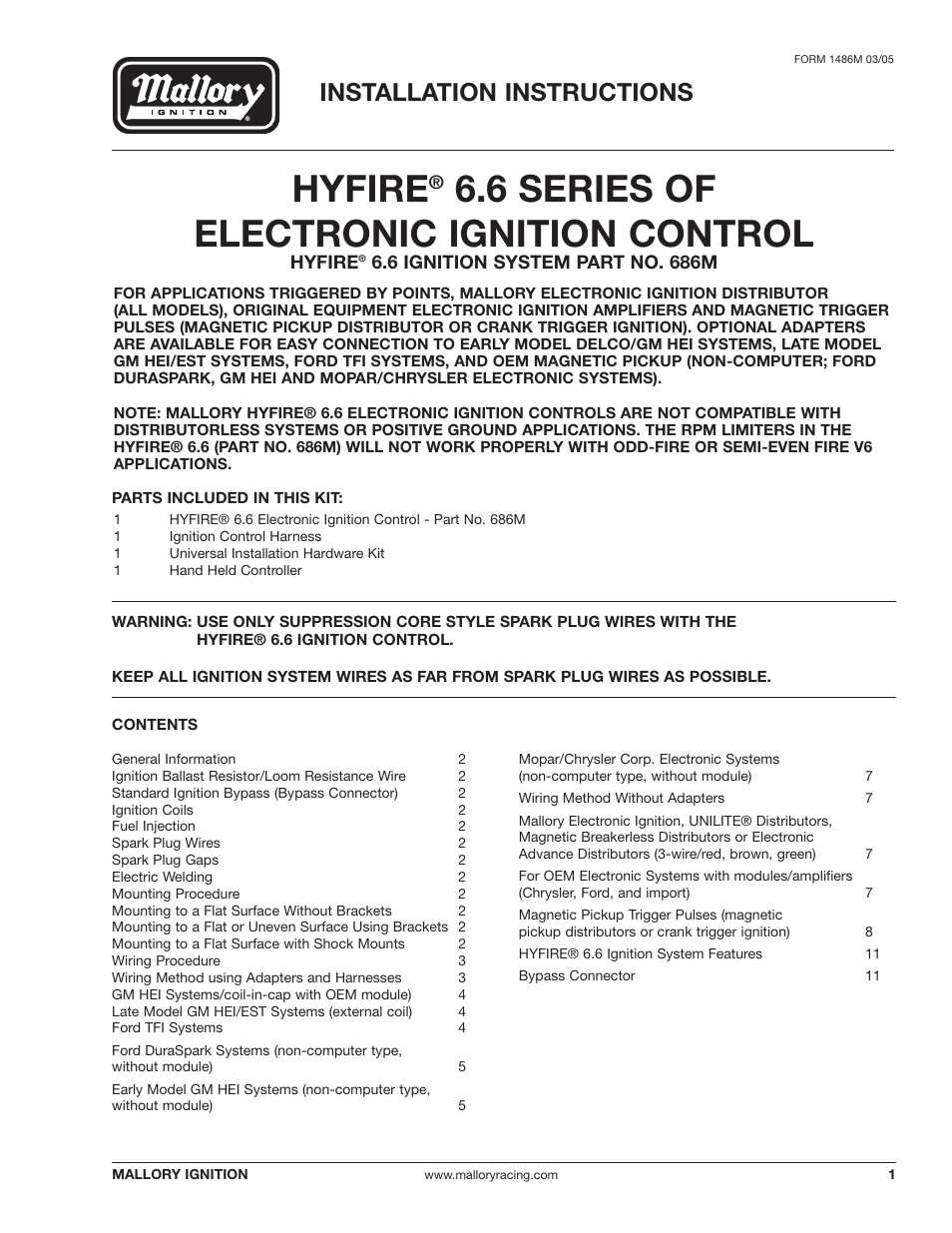 Mallory Ignition Mallory HYFIRE 6.6 SERIES OF ELECTRONIC IGNITION ...