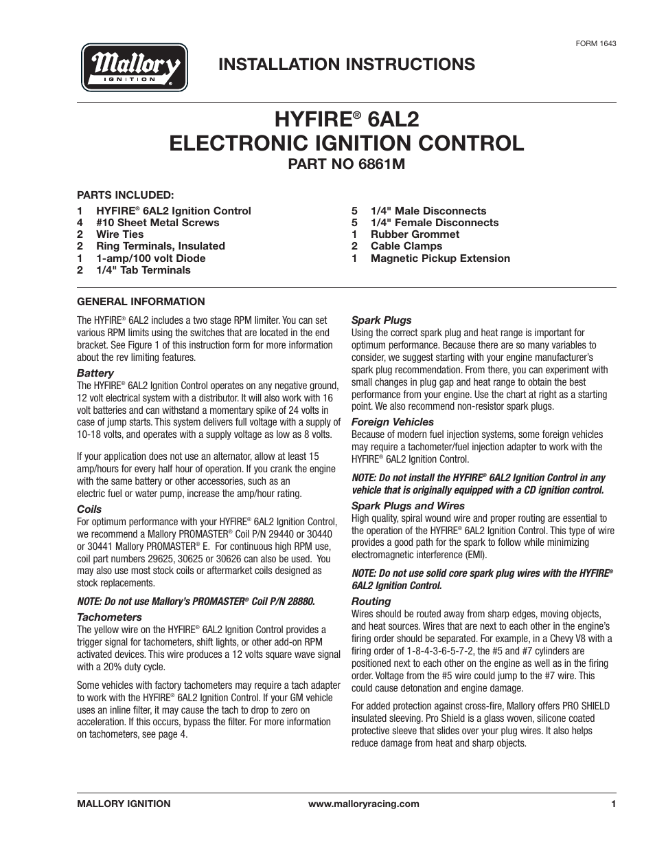 mallory ignition mallory hyfire 6al2 electronic ignition control 6861m page1 mallory ignition mallory hyfire 6al2 electronic ignition control mallory hyfire 6al wiring diagram at bakdesigns.co