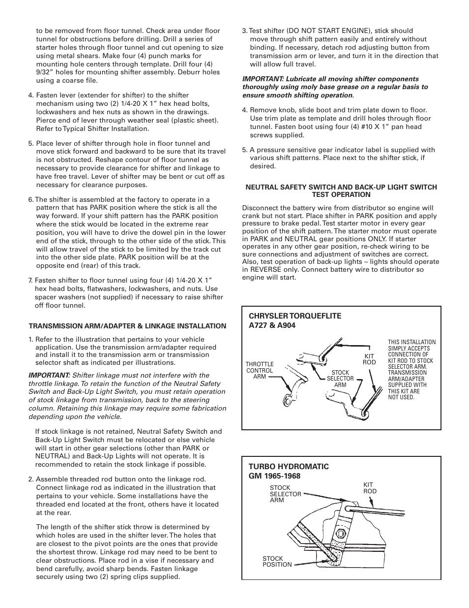 Mr Gasket 7668 Floor Shifter Conversion 3 4 Speed Auto User Manual Chrysler Engine Diagram